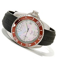 INVICTA WOMEN'S ANGEL DIVER QUARTZ MOP DIAL PU STRAP WATCH W/DC