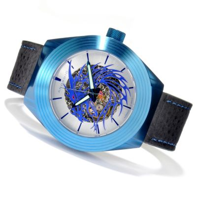 619-686 - Android Men's Tattooed Dragon Automatic Skeletonized Dial Leather Strap Watch