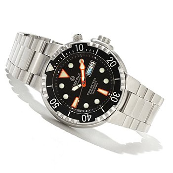 37 - Deep Blue Men's Sunray Diver II Automatic Stainless Steel Bracelet Watch