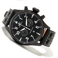 ADEE KAYE MEN'S STAINLESS STEEL CHRONOGRAPH LEATHER STRAP WATCH