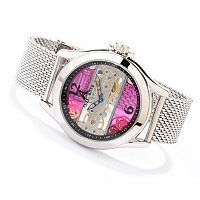 ADEE KAYE MEN'S MECHANICAL MESH STRAP WATCH