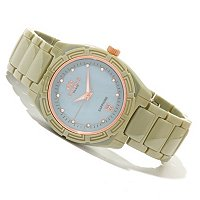ONISS WOMEN'S CERAMIC SWISS DAY/DATE CRYSTAL ACCENTED STRAP WATCH