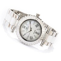 ONISS WOMEN'S CERAMIC SWISS CRYSTAL ACCENTED BRACELET WATCH