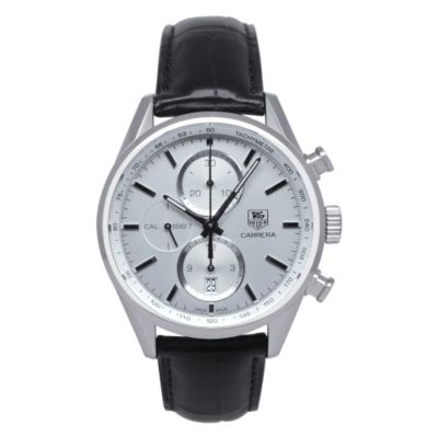 619-847 - Tag Heuer Men's Carrera Swiss Quartz Chronograph Black Leather Strap Watch