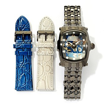 619-922 - Invicta Men's Lupah Skeletonized Dial Mechanical Bracelet Watch w/ Two-Strap Set