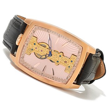 619-955 - Constantin Weisz Men's Mechanical Exposed Bridge Leather Strap Watch