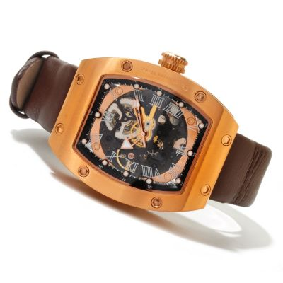 619-957 - Constantin Weisz Men's Automatic Skeletonized Leather Strap Watch