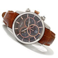 Stauer Men's cresta Chronograph Leather Strap Watch