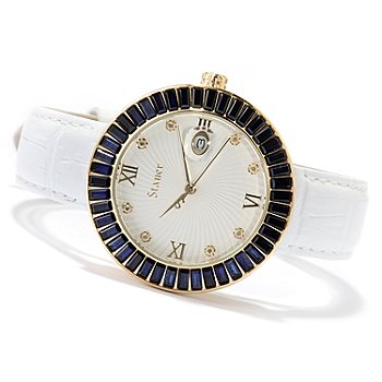 619-965 - Stauer Women's Scarlett Quartz Stainless Steel Leather Strap Watch