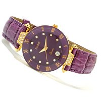Stauer Women's Crystal Accented Leather Strap Watch
