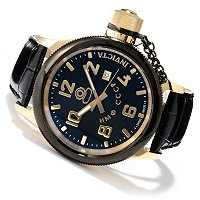 INVICTA MEN'S RUSSIAN DIVER QUARTZ MOVEMENT STAINLESS CASE LEATHER STRAP WATCH
