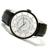 Gevril Men's Columbus Circle Swiss Made Automatic Leather Strap Watch