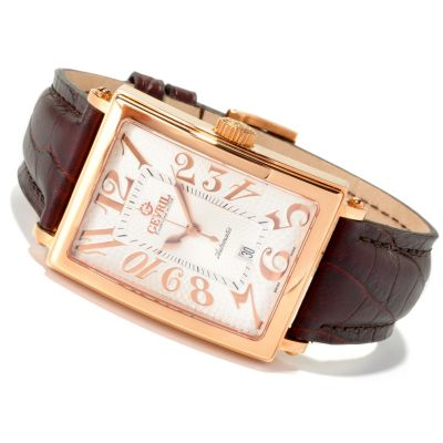 620-091 - Gevril Men's Avenue of Americas Limited Edition Swiss Made Automatic Leather Strap Watch