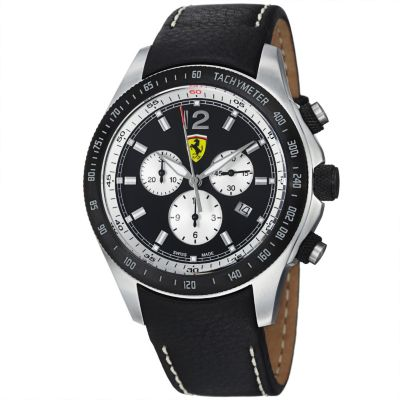 620-113 - Ferrari Men's Scuderia Swiss Made Quartz Chronograph Black Leather Strap Watch