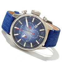 Stuhrling Original Men's Concorso Sport Quartz Chronograph Denim Strap Watch