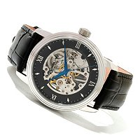 Stuhrling Original Men's Delphi Vienna Mechanical Skeleton Leather Strap Watch
