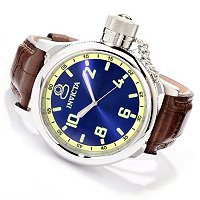 INVICTA MEN'S RUSSIAN DIVER QUARTZ ALLIGATOR STRAP WATCH