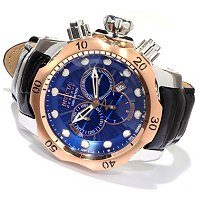 INVICTA RESERVE MEN'S VENOM ELEGANT SWISS QUARTZ CHRONO LEATHER STRAP WATCH