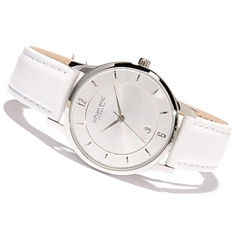 620-155 - Johan Eric Men's Hobro Quartz Stainless Steel Leather Strap Watch