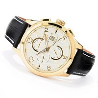 S. COIFMAN MEN'S QUARTZ MASTER CALENDAR STAINLESS CASE LEATHER STRAP WATCH