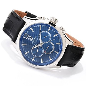 620-182 - S. Coifman Men's Quartz GMT Stainless Steel Leather Strap Watch