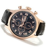 INVICTA RESERVE MEN'S SPECIALTY VALJOUX 7750 MOP DIAL 18K ROSE GOLD STRAP WATCH
