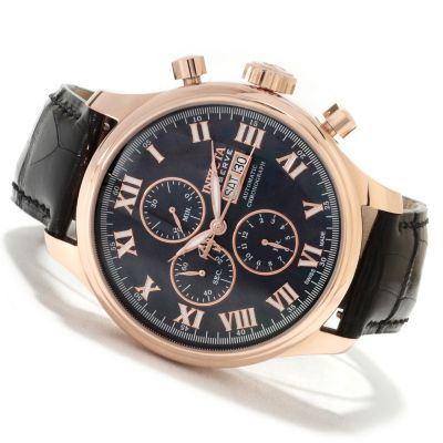 620-280 - Invicta Reserve Men's Specialty Valjoux 7750 Automatic 18K Gold Case Alligator Strap Watch