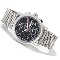 JEAN MARCEL MEN'S CLARUS SWISS MADE LTD ED AUTOMATIC CHRONO MESH BRACELET WATCH
