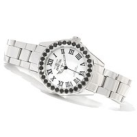 INVICTA WOMEN'S PRO DIVER BLACK SPINEL MOP DIAL STAINLESS STEEL BRA WATCH