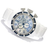 INVICTA MEN'S BOLT SPORT QUARTZ CHRONO MOP DIAL CERAMIC BRACELET WATCH