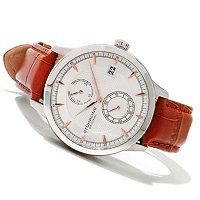 Stuhrling Original Men's Navigator PR Automatic Leather Strap Watch