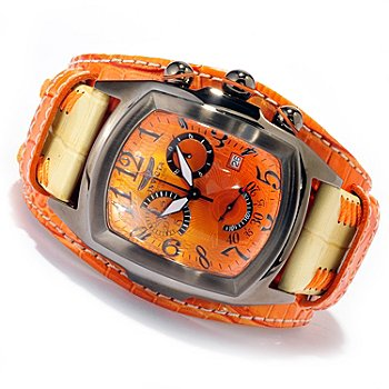 620-382 - Invicta Men's Dragon Lupah Swiss Made Quartz Chronograph Stainless Steel Case Leather Strap Watch