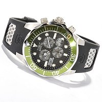 INVICTA MEN'S GRAND DIVER QUARTZ CHRONO CARBON FIBER DIAL POLY STRAP WATCH