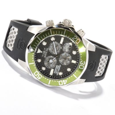 620-383 - Invicta Men's Grand Diver Quartz Chronograph Carbon Fiber Dial Stainless Steel Strap Watch