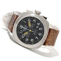 "INVICTA MEN'S AVIATION ""BOMBER"" QUARTZ CHRONO LEATHER STRAP WATCH"