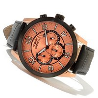 INVICTA MEN'S SPECIALTY QUARTZ CHRONOGRAPH LEATHER STRAP WATCH