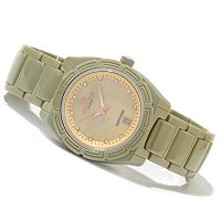 Oniss Women's Ceramic Day/Date Crystal Accented MOP Dial Bracelet Watch