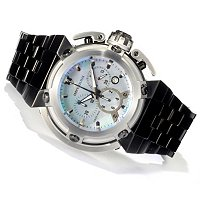 IMPERIOUS MEN'S X-WING SWISS QUARTZ CHRONO MOTHER OF PEARL DIAL BRA WATCH