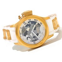 INVICTA WOMEN'S RUSSIAN DIVER QUARTZ DATE PU STRAP WATCH