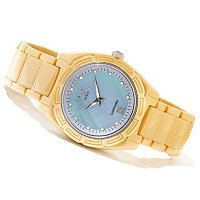 Oniss Women's Ceramic Date Crystal Accented MOP Dial Bracelet Watch