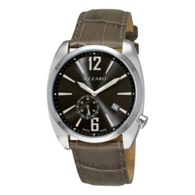 620-898 - Azzaro Men's Seventies Swiss Made Quartz Leather Strap Watch