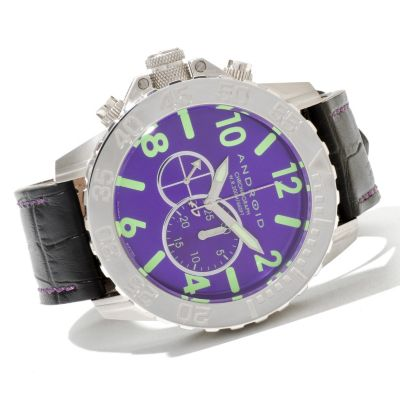 621-034 - Android Men's Divemaster Trans 52 Quartz Chronograph Leather Strap Watch