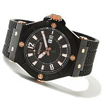 RENATO MEN'S WILDE-BEAST QUARTZ RUBBER STRAP WATCH