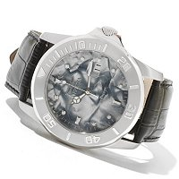 INVICTA MEN'S PRO DIVER QUARTZ MOVEMENT MOP DIAL LEATHER STRAP WATCH