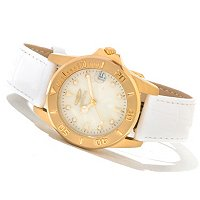 INVICTA WOMEN'S PRO DIVER QUARTZ MOVEMENT MOP DIAL LEATHER STRAP WATCH