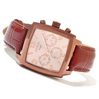 INVICTA WOMEN'S ANGEL QUARTZ MULTIFUNCTION LEATHER STRAP WATCH