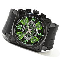 Stuhrling Xtreme Men's Raven Crossfire Quartz Chronograph Rubber Strap Watch