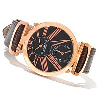 Stuhrling Original Men's Eclipse Classic Dual Time Quartz Leather Strap Watch