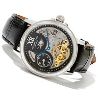 Stuhrling Original Men's DT Bridge Automatic Skeleton Leather Strap Watch