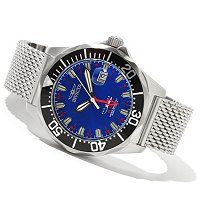 INVICTA MEN'S PRO DIVER SWISS QUARTZ GMT MOP DIAL MESH BRACELET WATCH